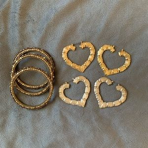 Heart earrings and matching bracelets